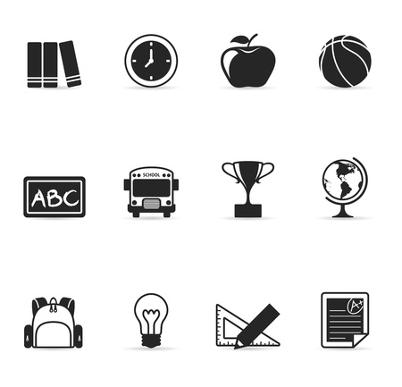 school bag: Single Color Icons - School Illustration