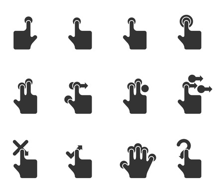 touch screen interface: Single Color Icons - Touchpad Gestures Illustration