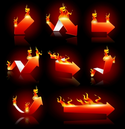 inferno: Vector illustration of red arrows on fire Illustration