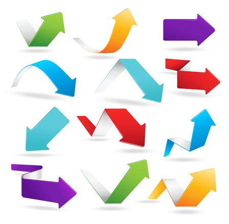 arrow circle: Vector arrows in 6 different colors Illustration
