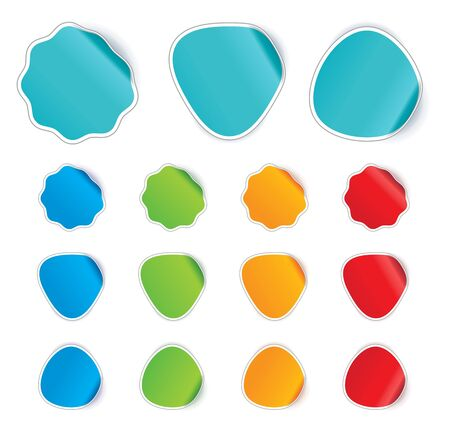 announcement message: Curled stickers in different colors
