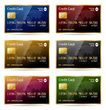 atm card: Realista de oro enmarcada icono de la tarjeta de cr�dito en 6 colores diferentes Vectores