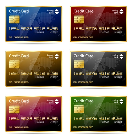 visa: Realistic gold framed credit card icon in 6 different colors