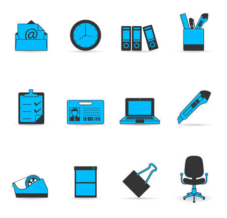 More office icon set in duotone colors Stock Vector - 13650364