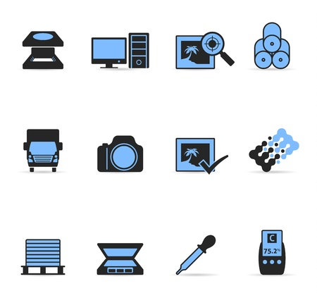 Printing   graphic design icon set in duotone colors Vector