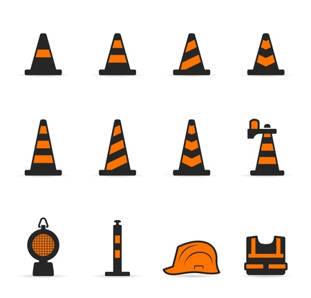 road works ahead: Traffic warning sign icon set in duotone color
