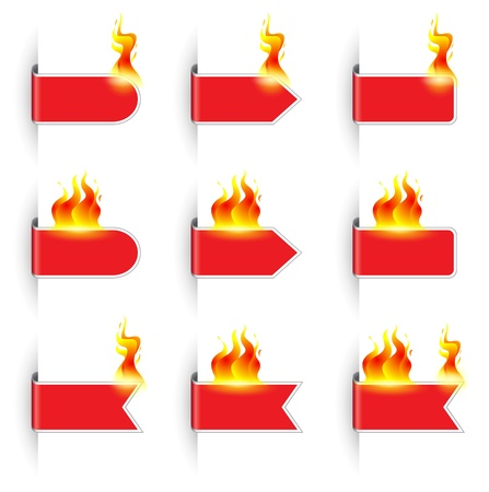 glimmer: Vector illustration of flaming website labels Illustration