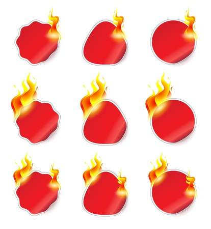illustration of stickers on fire Vector