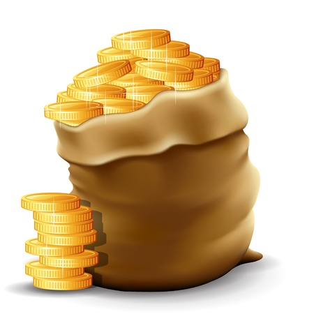 oude munten: Illustratie van een zak met volle gouden munten in het