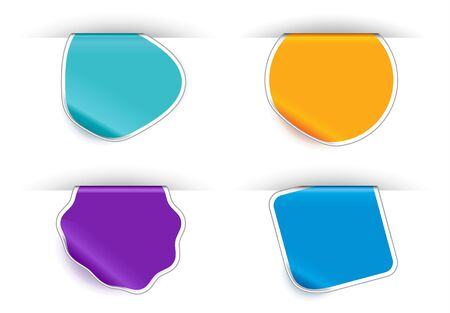 Folded stickers in different colors Vector