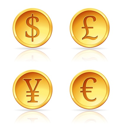 british money: illustration of gold coins with 4 major currencies Illustration