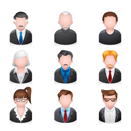 Business people icon set Vector