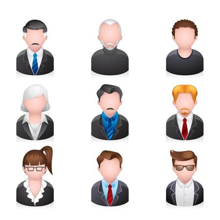 Mensen uit het bedrijfsleven icon set Stock Illustratie