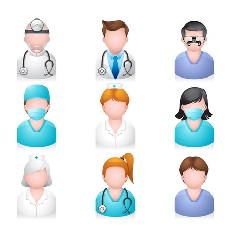 medical computer: Medical people icon set Illustration
