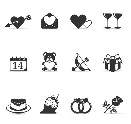 Valentine related items icon set in greyscale Vector