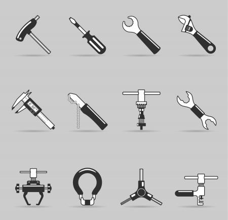 palanca: Bicicletas, herramientas de conjunto de iconos en un solo color