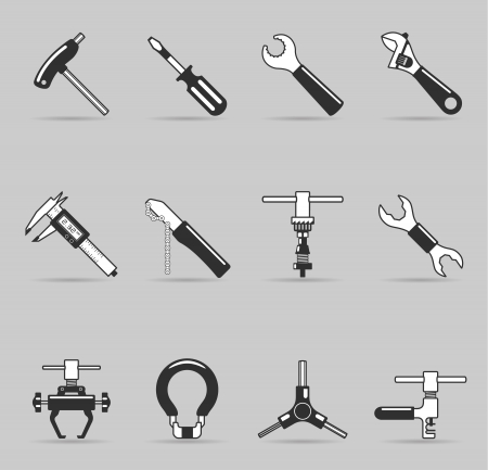 fix gear: Bicycle tools icon set  in single color