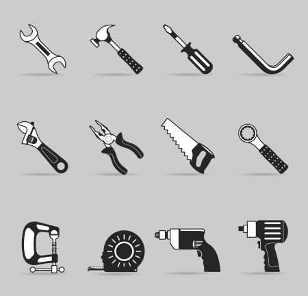 Hand tools icon set in single color