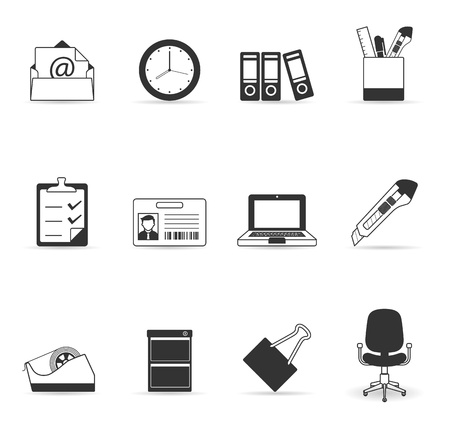 More office icon set Vector