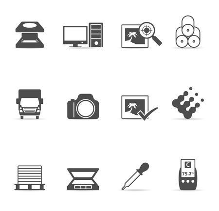 prepress: Impresi�n de conjunto de gr�ficos icono del dise�o Vectores