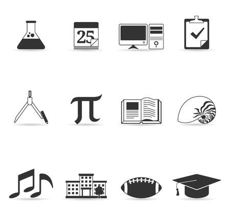 calendario escolar: M�s de la escuela conjunto de iconos en un solo color