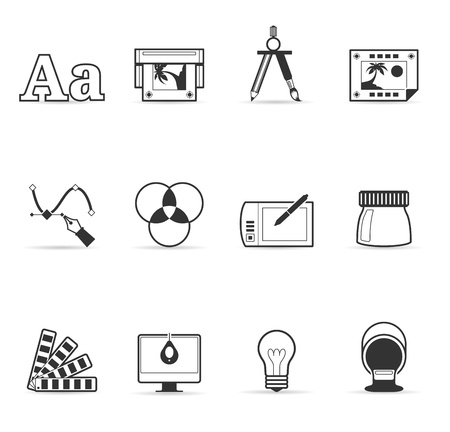 Printing   graphic design icon set in single color Ilustração