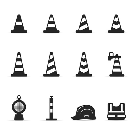 traffic cone: Traffic warning sign icon set in single color