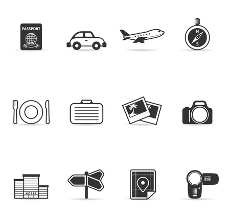 pasaportes: Viaje conjunto de iconos Vectores