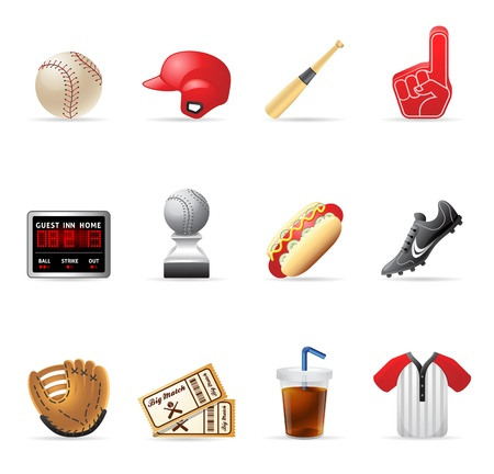 leather gloves: Baseball related icons Illustration