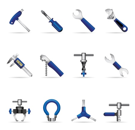 lever: Bicycle tools icon set Illustration