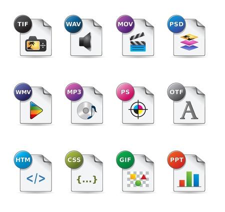 Formatos de archivo conjunto de iconos Ilustración de vector