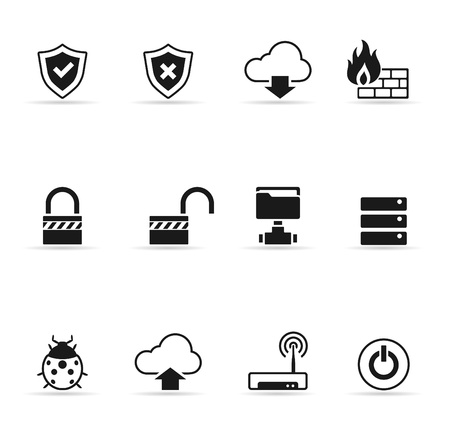 firewalls: Computer network icon set  in single color  EPS 10  Transparent shadows placed on separated layer