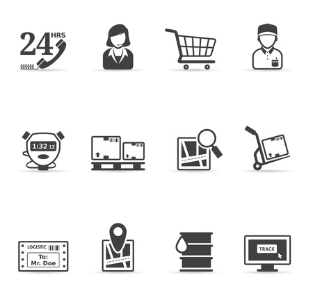 shopping cart: Logistic  icon set in single color   Illustration