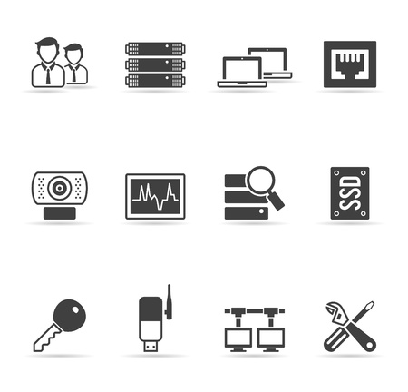 Computer network icon set  in single color