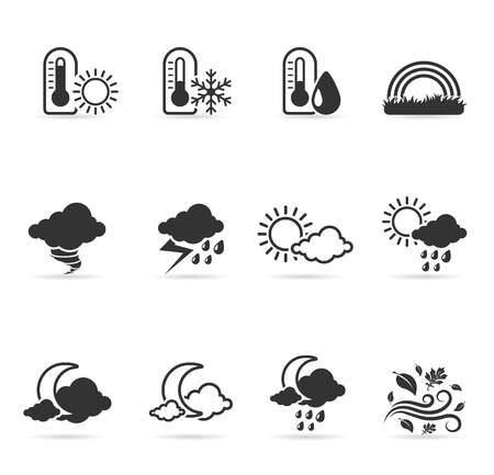 More weather icon set  in single color   Vector