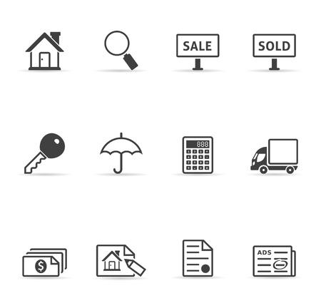 Real estate icon set in single color