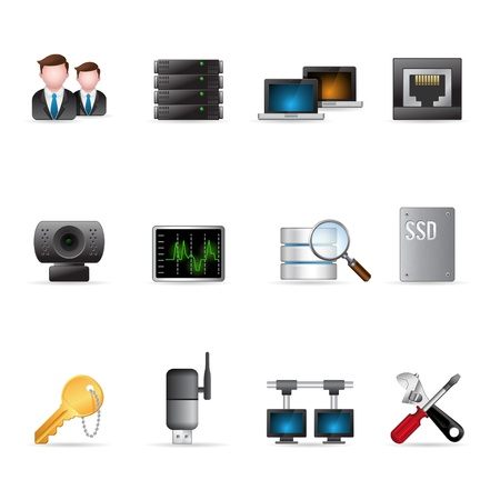 screw key: Computer network icon set    Illustration