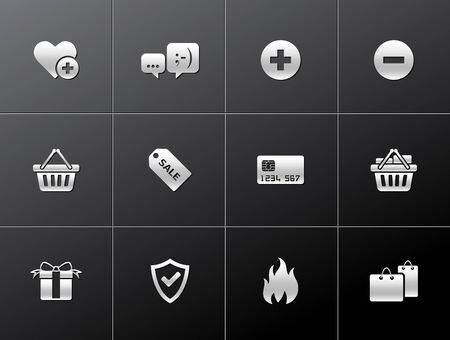 Ecommerce icon series in metallic style Vector