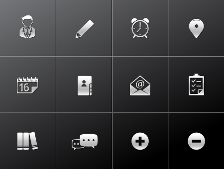 Group collaboration icon series in metallic style Vector