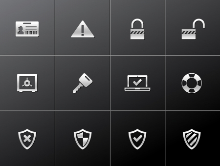 arts system: Security icon series in metallic style Illustration