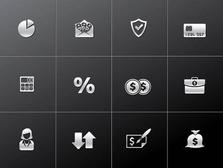 Finance icon series in metallic style - EPS 10. Ilustração