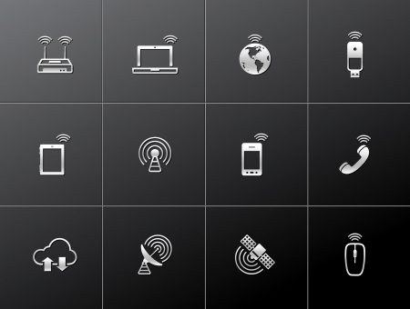 Wireless technology icon series in metallic style.