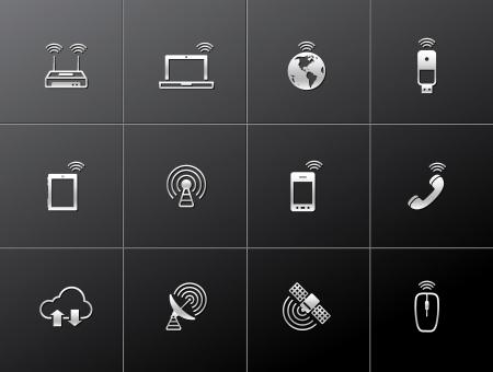 Wireless technology icon series in metallic style.