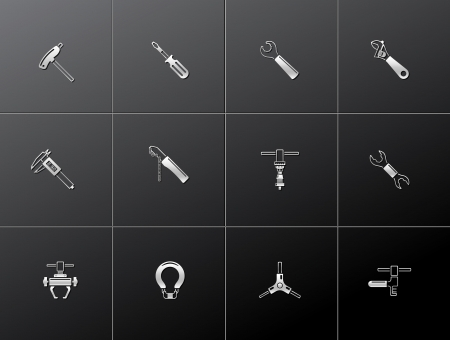 Bicycle tools icon series in metallic style. EPS 10. Vector