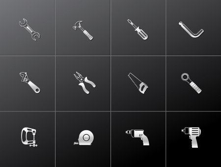 Hand tools icon series in metallic style. EPS 10. Vector