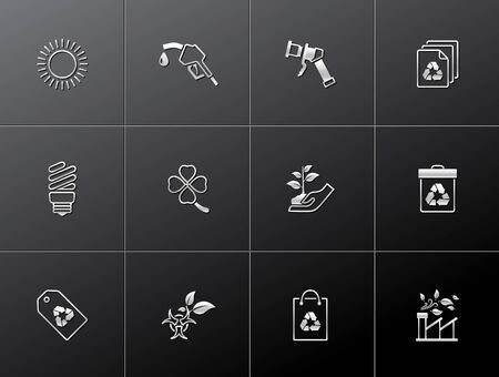 Environment  icon series in metallic style  EPS 10 Stock Vector - 15259287