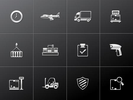 Serie icono de logística en EPS estilo metálicos 10 Foto de archivo - 15259237