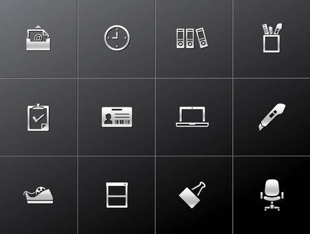 Office icon series in metallic style  EPS 10 Stock Vector - 15259234