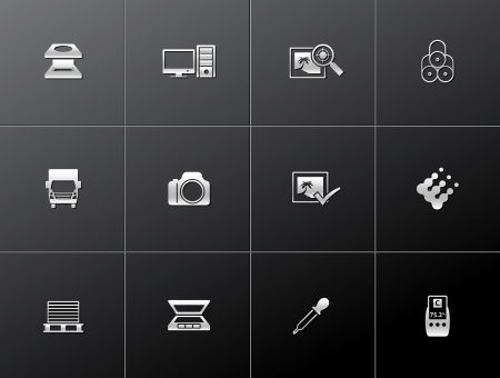 printshop: Printing   graphic design icon series in metallic style