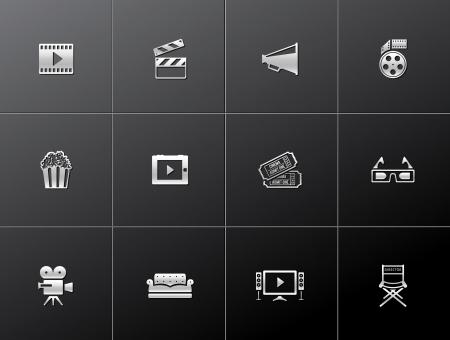 camara de cine: Movie serie icono de estilo met�lico Vectores